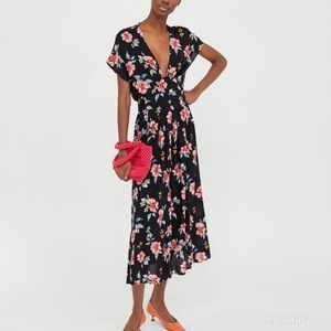 Zara Floral Print Button Front Maxi Dress XS